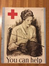 W.T. Benda WWI Red Cross Poster You Can Help Young Woman Knitting 20 x 27.5