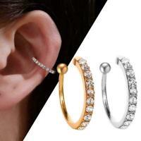 1X Lady Fake Earring Gold Silver Earring Crystal Ear Clip On Cuff T4N6 Wrap J6C4