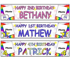 PERSONALISED BANNER NAME AGE PHOTO BIRTHDAY PARTY RAINBOW 1st 2nd boy girl B1