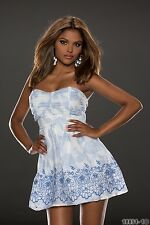 Party Club Wear Modern Bandeau White/Blue Mini Dress UK size 12-14