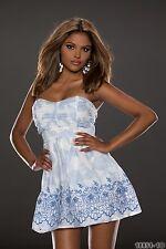 fiesta club wear Moderno Sujetador Bandeu BLANCO/Azul Vestido Mini GB