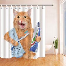 Cat Brushing Teeth and Towels Waterproof Fabric Bathroom Shower Curtain 71Inch
