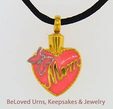 Pink And Gold Mom Heart Cremation Jewelry Pendant Urn Keepsake- Silk Cord