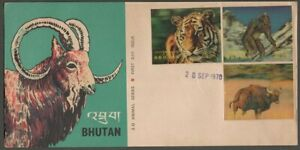 AOP Bhutan 1970 Animals 3D stamps 3v on FDC First Day cover