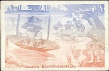 Poltical Satire  France French Government Fishing Comic c1910 Postcard