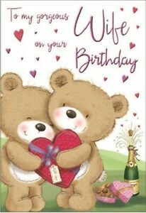 """To My Gorgeous Wife on Your Birthday Card. Large Card 9"""" x 6""""."""