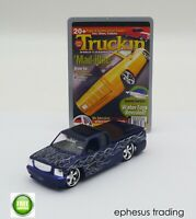 Muscle Machines Truckin Chevy Cadillac Silverado Pickup Blue w/Flames 1/64 MINT!