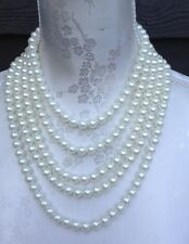 Faux Pearl Slinky Waterfall Necklace Multi Layered