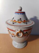 Pot couvert faience centre France 19 th XIX siècle liseret ceramique française
