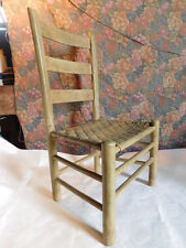 Old Vintage Primitive Ladder Back Shaker Chair Rattan Caned Seat Antique  Accent