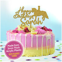 Glitter Gold Acrylic Horse Cake Topper PERSONALISED Horse Cake Decorations Her