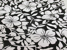 "Black with White ""Blossom Petals"", Floral Cotton/Spandex Dress Fabric."