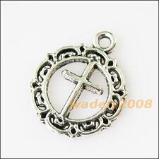 12 New Flower Round Circle Cross Tibetan Silver Tone Charms Pendants 16x20mm
