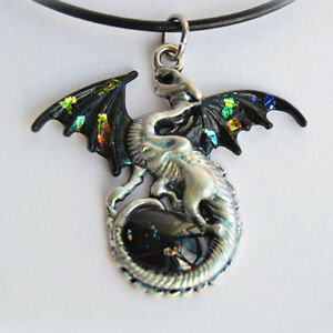 Black Opal Dragon with Glass Gem Egg Pendant Necklace - Fantasy Jewelry