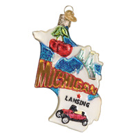 """State of Michigan"" (36184)X Old World Christmas Ornament w/OWC Box"