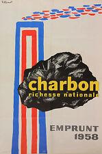 Bernard Villemot: Charbon Richesse Nationale. Emprunt 1958.