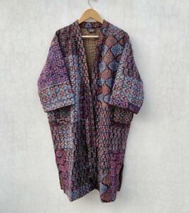 Patchwork handmade kantha jacket Japanese kimono style Floral kantha robe winter