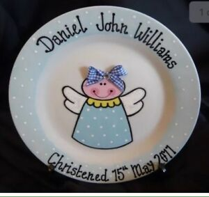 Personalised Baby Christening Birth Plate With FREE Personalised Dummy Clip