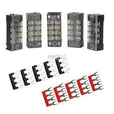 5Pcs Dual Rows 4 Position Electric Barrier Screw Terminal Block Strip 600V 15A