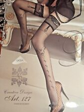 BALLERINA 127- SHEER BLACK SIDE SEAM PATTERN LACE TOP HOLD UPS SIZE SM/MED