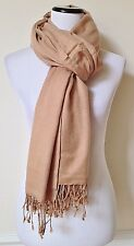 "NEW PASHMINA Light Brown Silk Scarf Fringed Shawl Wrap Made in India 37"" x 84"""