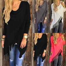 Womens Winter Loose Long Sleeve Cotton Casual Shirt Tunic Tops Fashion Blouse QM