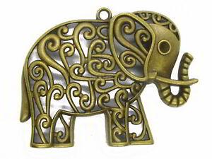 Metallanhänger Elefant, bronzefarben, 4,8 x 6,3 cm, Anhänger, Modeschmuck