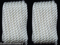 """2 WHITE Twisted 3 Strand 1//2/"""" x 25/' ft HQ Boat Marine DOCK LINES Mooring Ropes"""