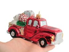Czech glass vintage red truck with presents Christmas tree ornament decoration
