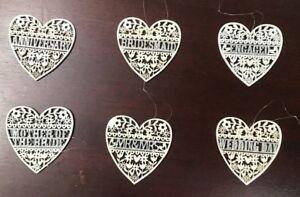 New Gisela Graham Cream White Wooden Filigree Heart Wedding Decoration Gifts