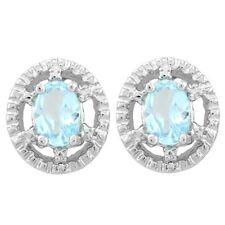 Ohrringe/Ohrstecker Rumer, 925er Silber, 1,12 Kt. echter Blautopas/Diamant