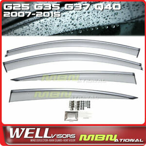 Wellvisors Rain Deflector For Infiniti G25 G35 G37 Q40 07-15 Window Visor Chrome