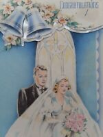 1940s Vtg BRIDE & GROOM Stylish WEDDING Gown Congratulations GREETING CARD