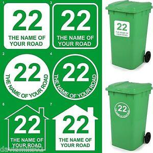 Pairs of Wheelie Bin Dustbin Vinyl Stickers House Address Sign