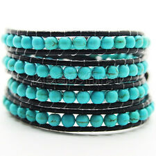 Genuine By Hand Turquoise Gemstone Wrap Bracelet On Black Leather Bracelet