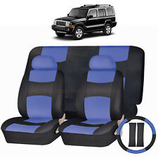 PU LEATHER BLUE & BLACK SEAT COVERS 11PC SET for JEEP COMPASS WRANGLER