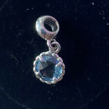 Pandora Abstract Silver Dangle With Blue Topaz Brand New In Fold Up Gift Box