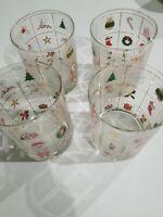 "Culver Pr Christmas 22KGold Potpourri 4.25"" H Double Old Fashioned Rocks Glasses"