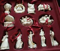 "MIKASA SET ""12 DAYS OF CHRISTMAS"" PORCELAIN & GOLD TRIM ORNAMENTS all 12 pieces"