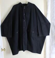 """Eskandar O/S 0 1 2 BLACK 36""""LONG Iconic Oversized Cotton Pu Raincoat Jacket Coat"""