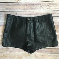 Asos Womens Leather Shorts Size 8 Solid Black Pockets