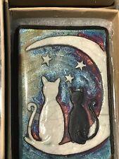 Cats and the Moon Raku Wall Art small (new design) - handmade & handsigned- NEW
