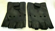 MEN WOMEN BLACK FAUX LEATHER FINGERLESS RIDING CYCLING GLOVES WINTER GLOVES-NEW!