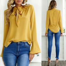 UK Moda da Donna Tinta Unita Camicia Blusa Bagliore Manica Ufficio Donna Larga