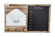 Wooden Letter Memo Message Board & Weekly Planner With 3 Hooks Notice Rack Unit