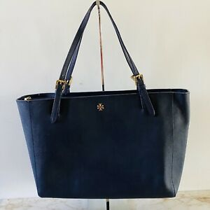 TORY BURCH York Solid Blue Black Leather Small Buckle Large Tote Bag