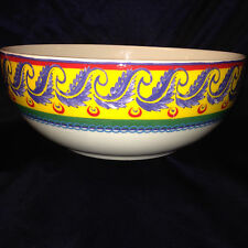 "VISTA ALEGRE PORTUGAL RIO LARGE ROUND SERVING BOWL 10"" BLUE LAUREL ON YELLOW"