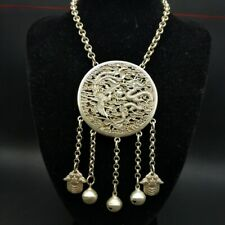 Ethnic original Chinese pure handmade Miao silver dragon pheonix bell necklace