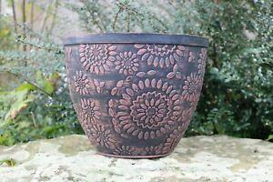 Large 30cm Planter Pot Chengdu Plastic Plant Flower Herb Garden Black Terracotta