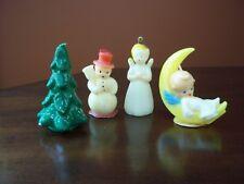 Vintage 1950's Gurley Candles Angel on Moon, Christmas Tree, Snowman, & Angel